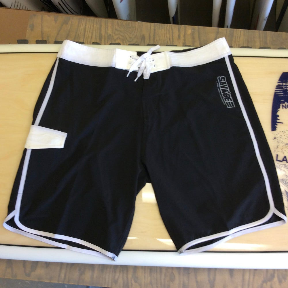 Image of Savage 4-way stretch Board Shorts Black/White