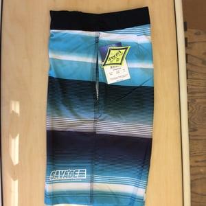 Image of Savage 4-way stretch Board Shorts Black/White/Blue Stripe