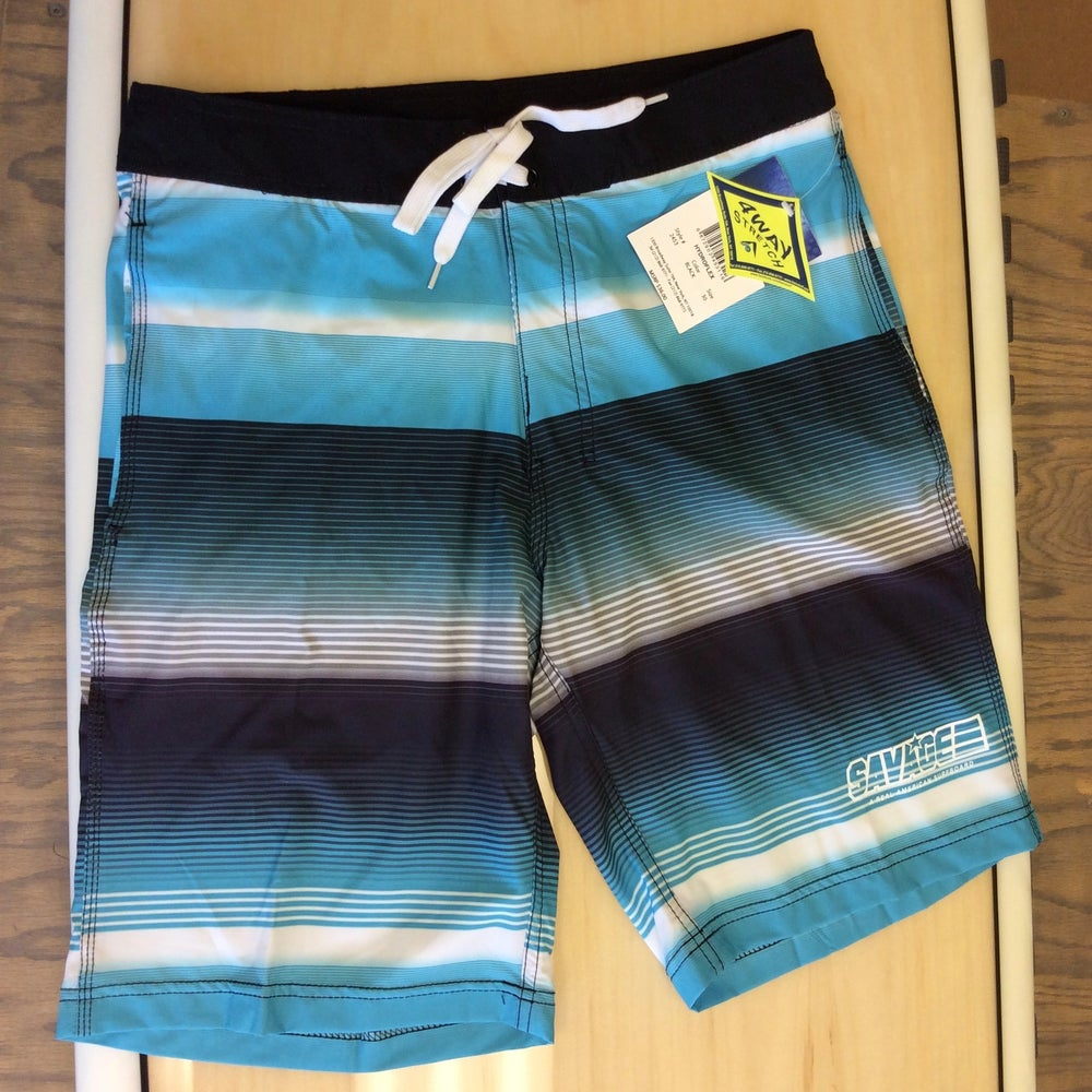 Image of Savage 4-way stretch Board Shorts Black/White/Blue Stripe