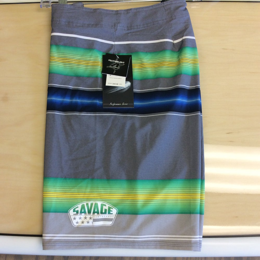 Image of Savage 4-way stretch Board Shorts Grey w/ Green/Blue Stripes