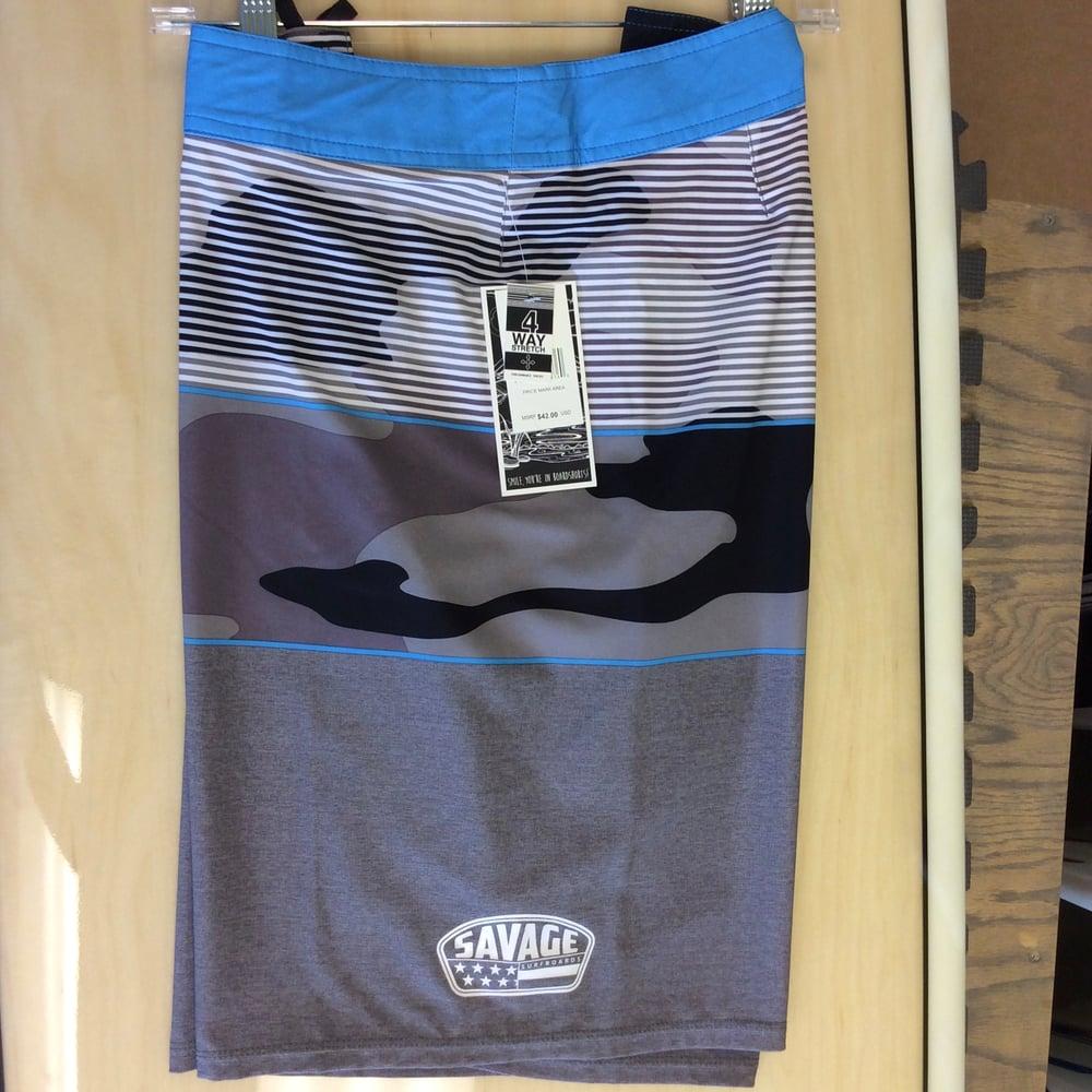 Image of Savage 4-way stretch Board Shorts Black/Grey Camo w/ White/Blue Stripes