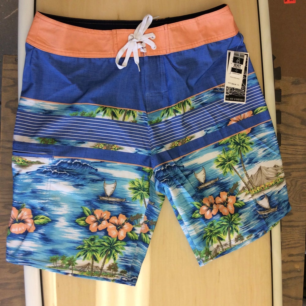 Image of Savage 4-way stretch Board Shorts Tropical Print Royal Blue/Coral