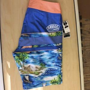 Image of Savage 4-way stretch Board Shorts Tropical Print Royal Blue/Coral