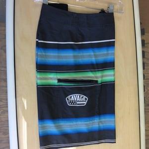Image of Savage 4-way stretch Board Shorts Black w/ Blue/Green Stripe