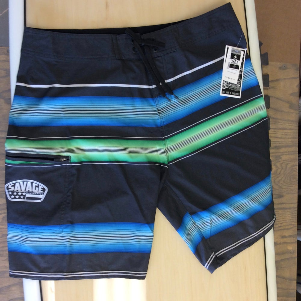 Image of Savage 4-way stretch Board Shorts Black w/ Blue/Green Stripes