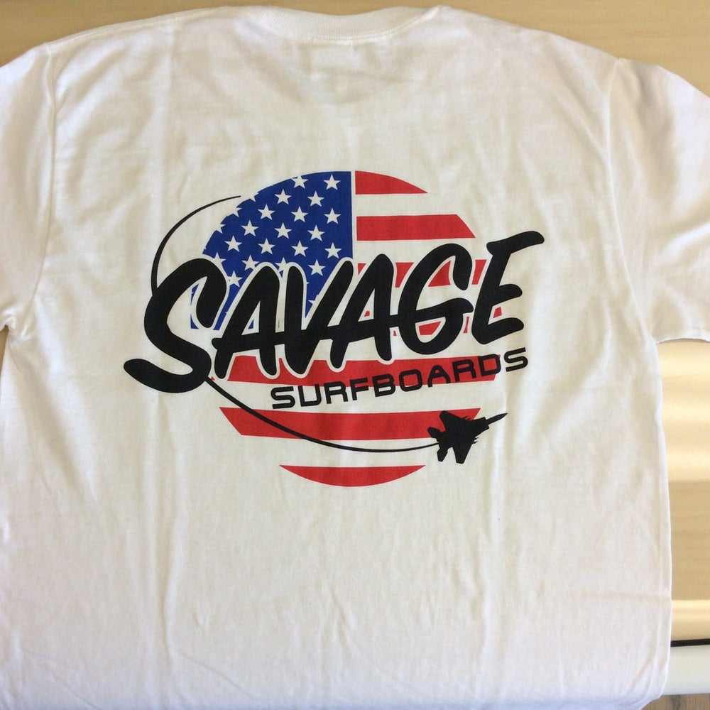 Image of Savage Surfboards T-shirt w/ American Flag/Jet Savage logo