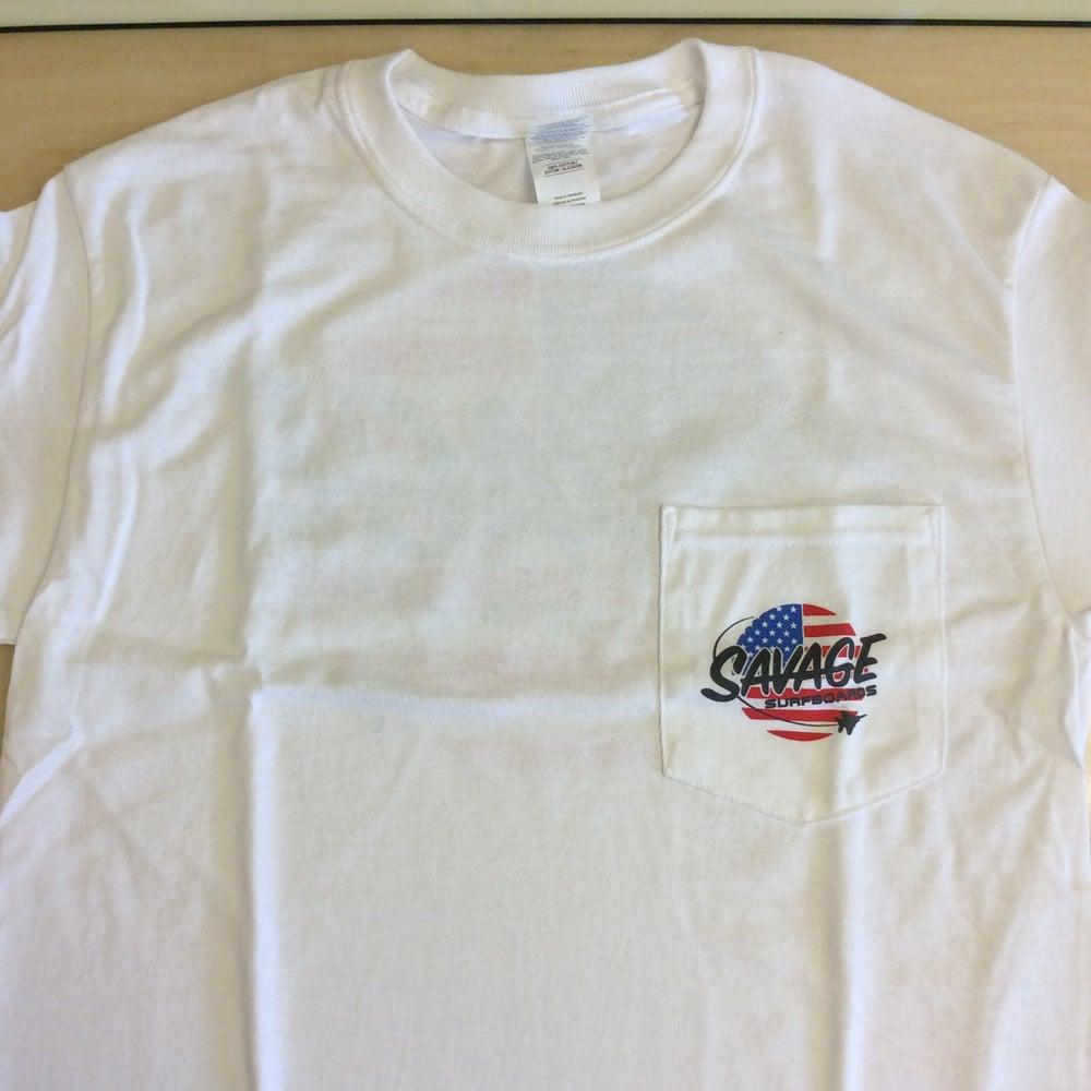 Image of Savage Surfboards Pocket T-shirt w/ American Flag/Jet Savage logo