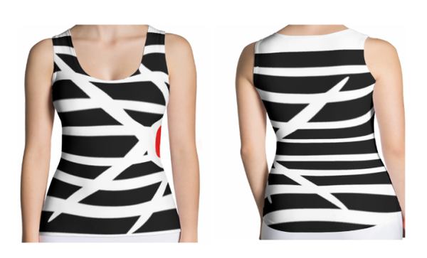 Image of Womens Fashion Top Black and White Stripes T-Shirt (Tee)