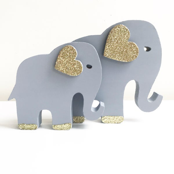 Image of FREESTANDING WOODEN GLITTER ELEPHANT