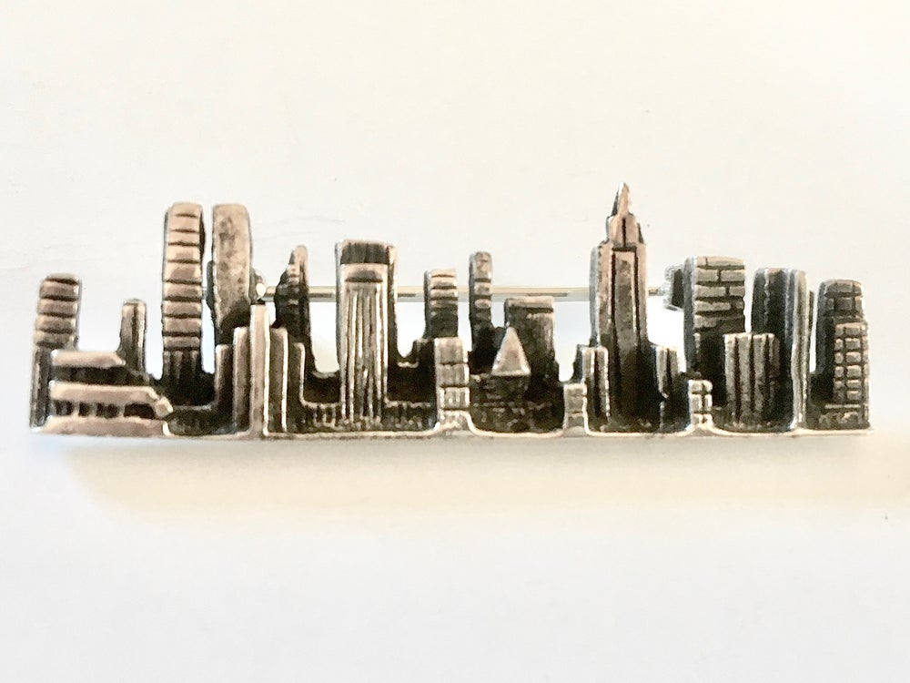 Image of Sterling Silver NYC Skyline Pin