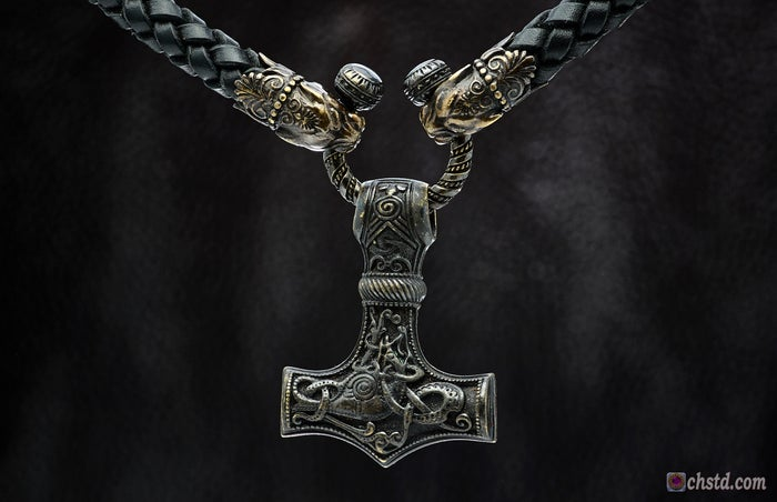 Image of THOR'S HAMMER : MJOLNIR DARK- Leather Necklace With Bronze Dark Pantera Heads - HANDMADE