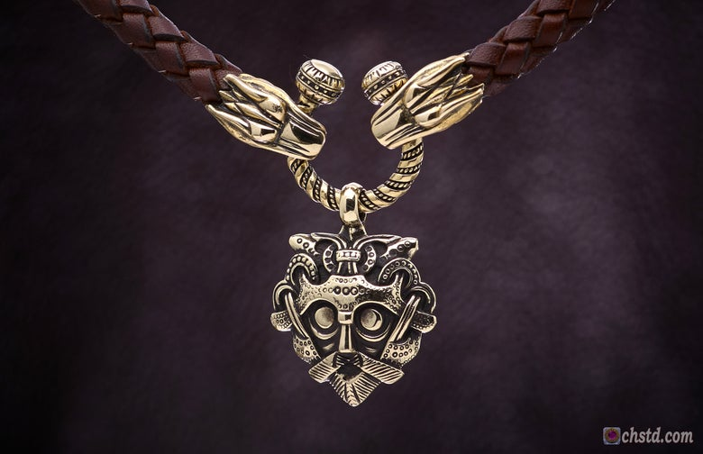 Image of Odin's Mask - Leather Necklace