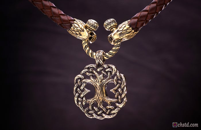 Yggdrasil : Tree of Life with EIHWAZ Rune - Leather Necklace