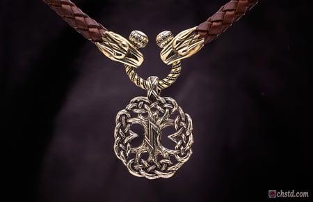 Image of Yggdrasil : Tree of Life with EIHWAZ Rune - Leather Necklace