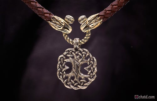 Image of Yggdrasil : Tree of Life with EIHWAZ Rune - Leather Necklace
