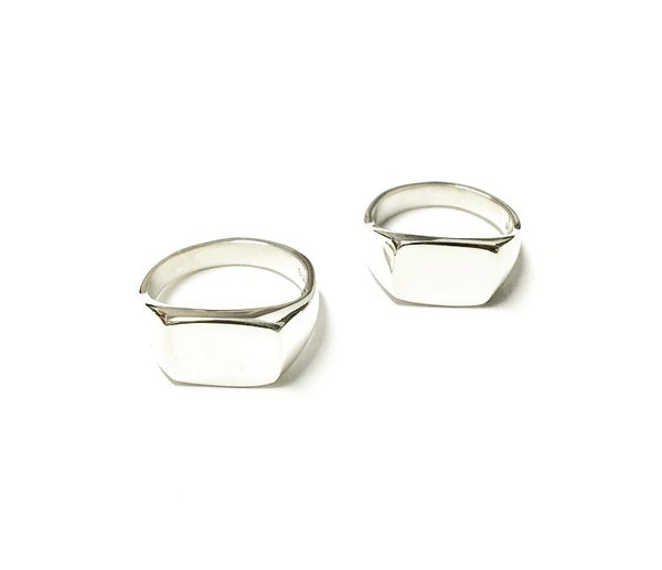Image of Rectangular Signet Ring in Sterling SIlver