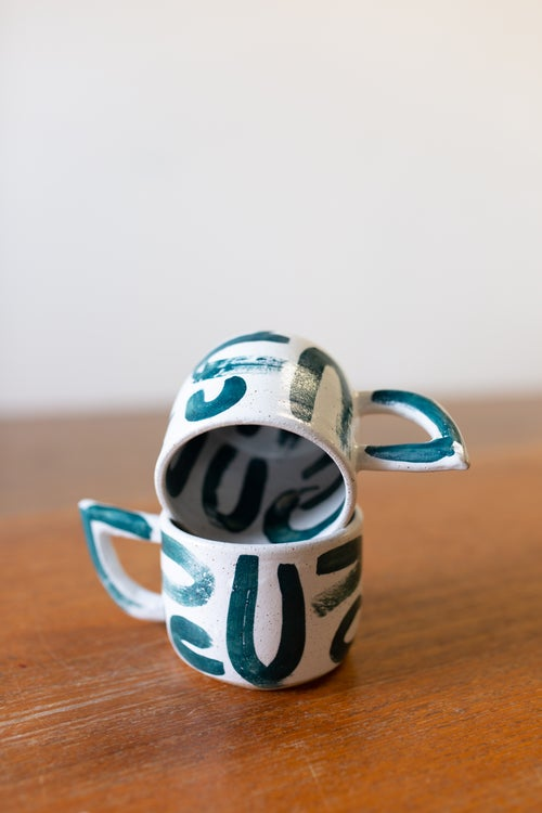 Image of Uuu Green Beak handled Mug