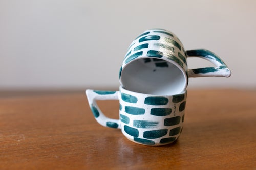 Image of White and Green Brick Beak Handle Mug