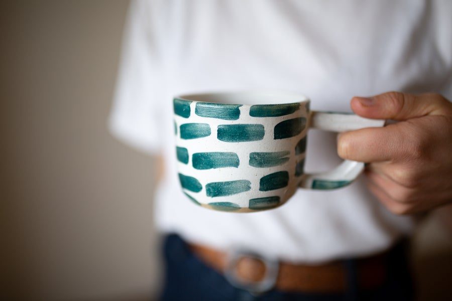 Image of White and Green Brick Beak Mug