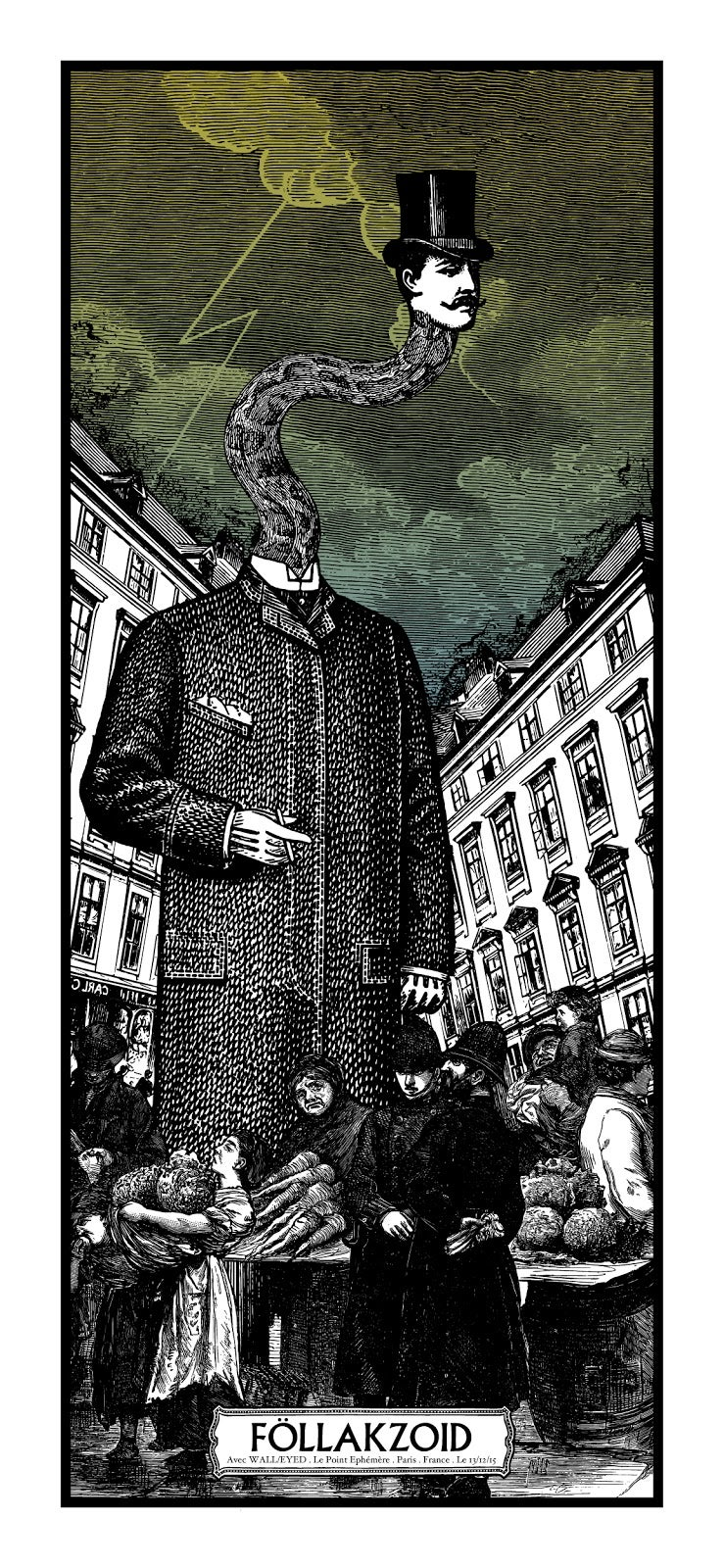 FOLLAKZOID gig poster - Le Point Ephémère Paris December 2015