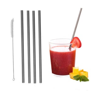 Image of Stainless Steel Straws (Set of 5,) 8mm