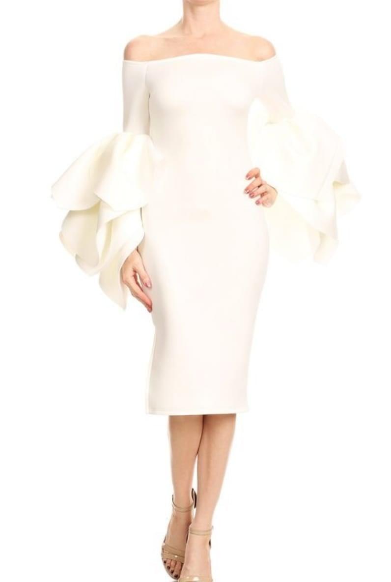 Image of Leaf Sleeves Mini Dress