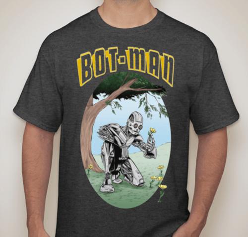 Image of Peace, Love Bot-Man Black/White/Dark Heather/Sports Grey Shirts