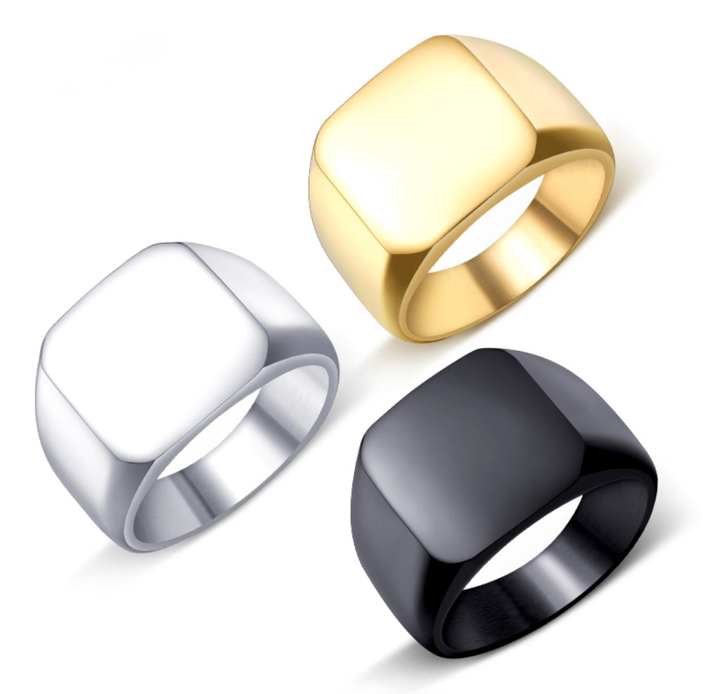 Image of SOLID SQUARE SIGNET RING ~ 3 COLOURS