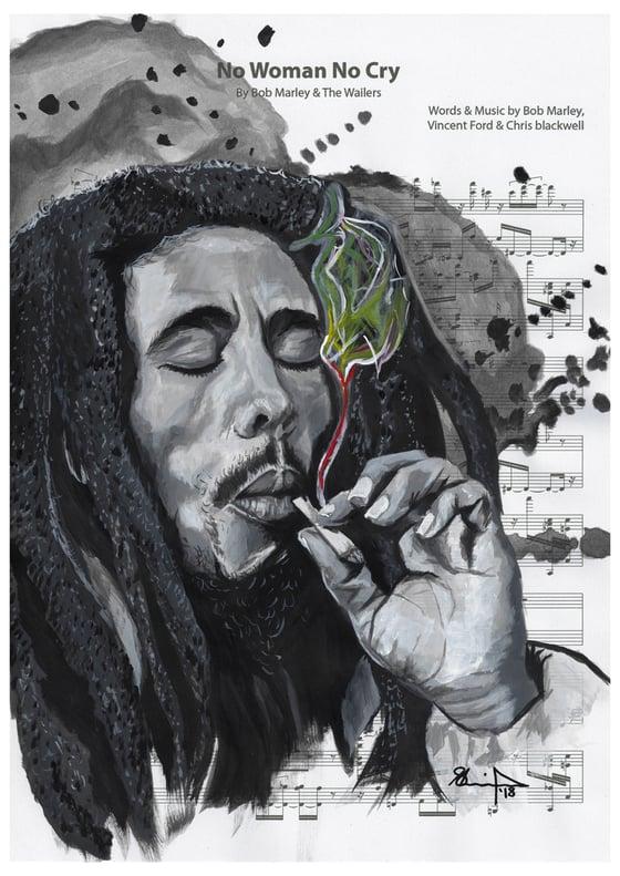 Image of Bob on Sheet Music - No Woman No Cry *PRINT*