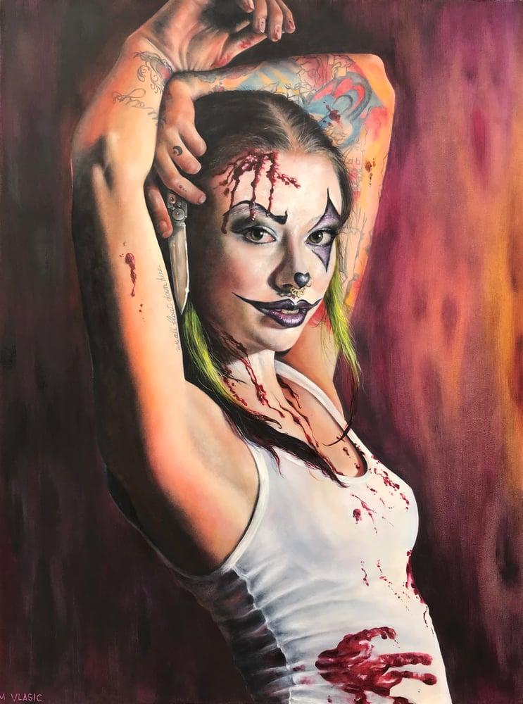 Image of Killer Clown Original Oil Painting