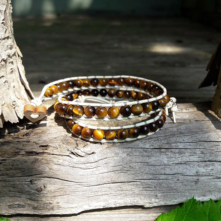 Image of Tigers Eye Beads on Cream Leather Double Wrap Bracelet