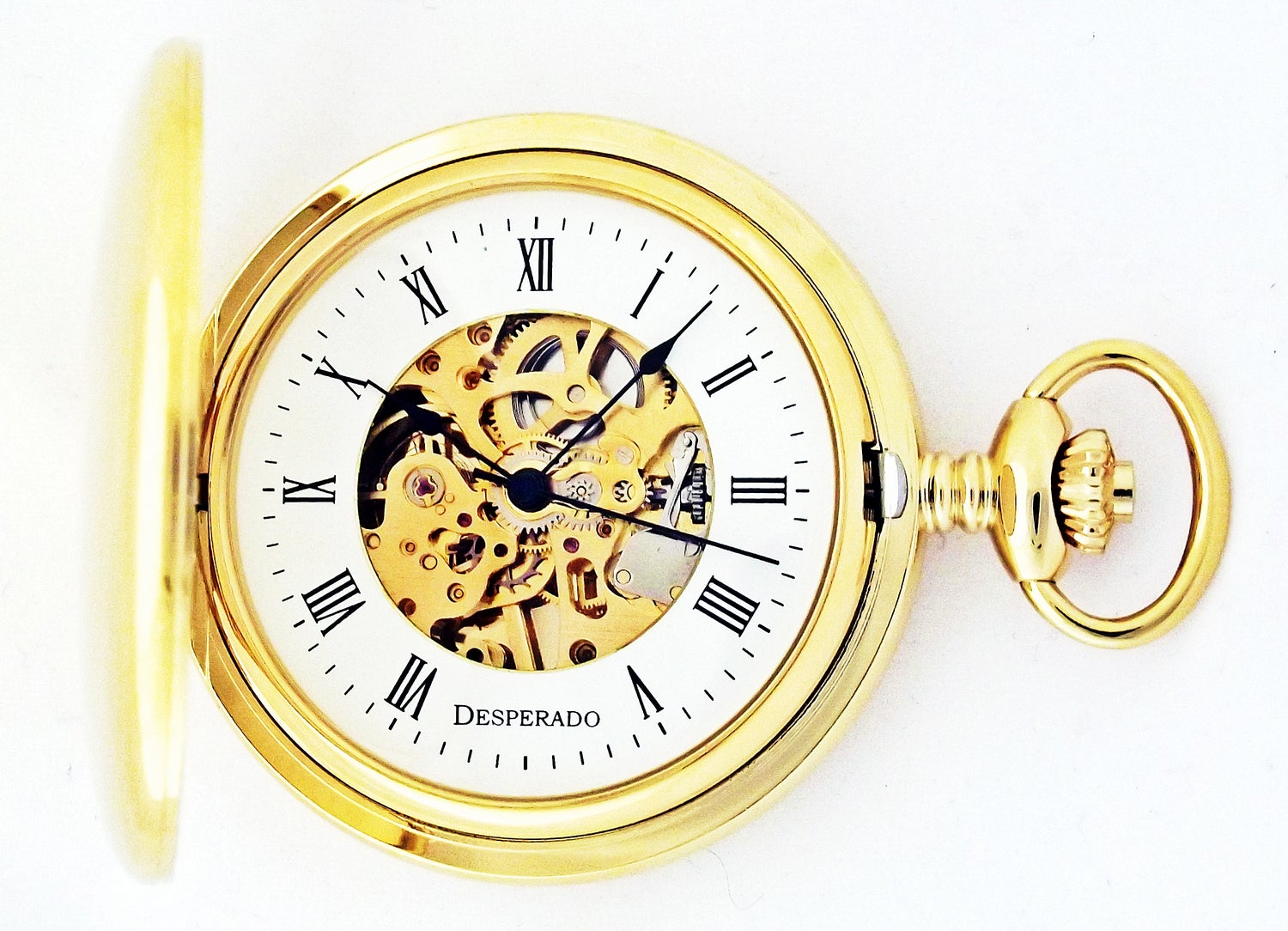 "Image of Desperado 729G ""Lincoln City"" Wind Up Mechanical Pocket Watch"