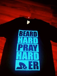 Image of BEARD HARD PRAY HARDER BLACK TEE BLUE PRINT