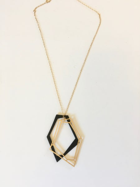 Image of Black and Gold Large Spiderweb Pendants on Gold-Filled Chain by Claudia Vallejo (Colombia)