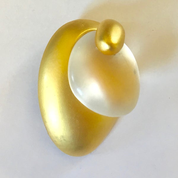 Image of Gold and Clear Frosted Glass Brooch by Claudia Vallejo