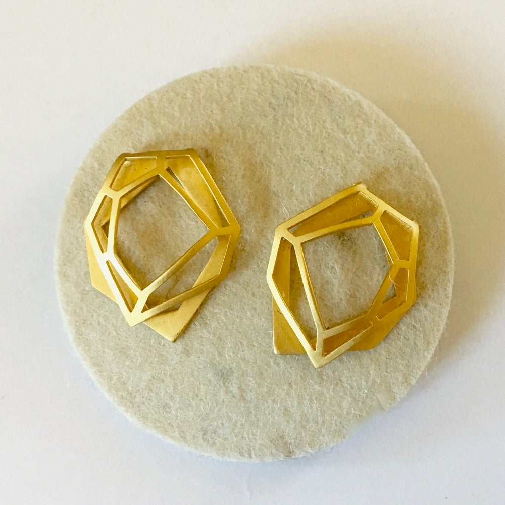 Image of Gold Spiderweb Earrings