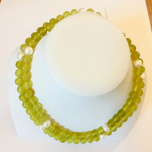Image of Green Garnet and Pearl Necklace by FAI