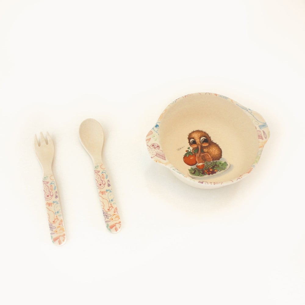 Image of Bamboo Fibre Bowl, spoon and fork