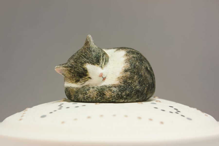 Image of Tabby Cat Custom Pet Urn, Brown and White Tabby, Tricolor Cat Urn
