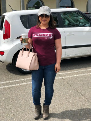 """Image of Burgundy: Classic """"Virtuous"""" Tee"""