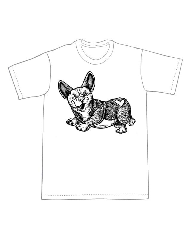 Image of Happy little corgi T-shirt **FREE SHIPPING**