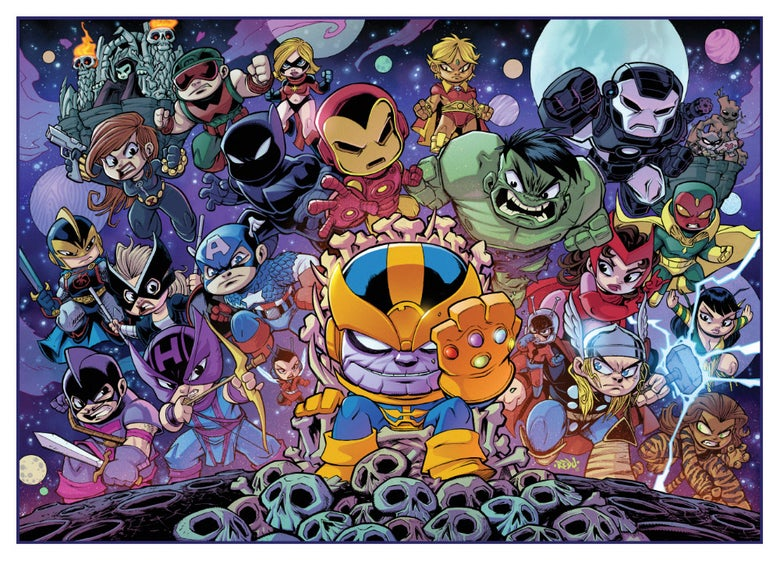 Image of Mini Avengers VS Thanos Art Print