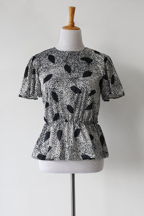 Image of SOLD Geometric Black And White Peplum Blouse
