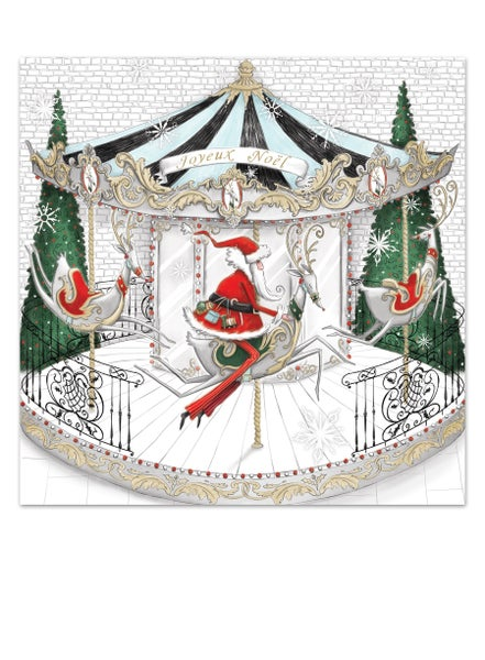 Image of Papa Noël's Carousel ride, Christmas card
