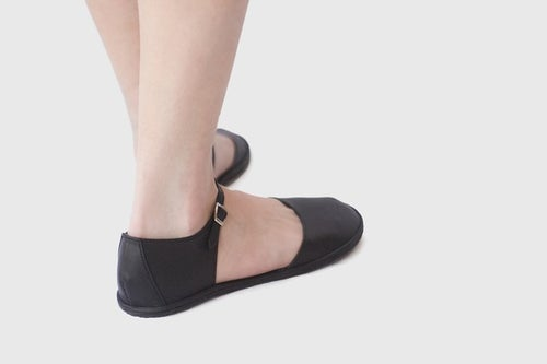 Image of Grace - Two Piece leather flats in Matte black