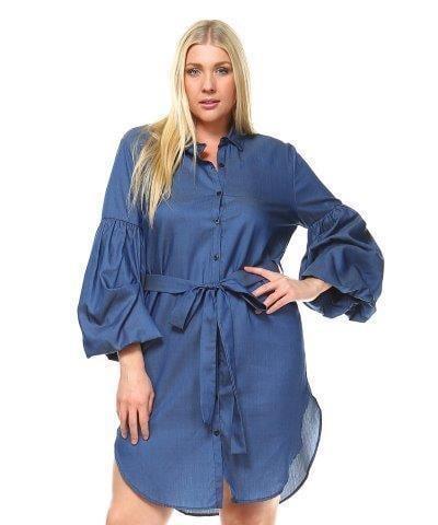 Image of Plus size jean dress