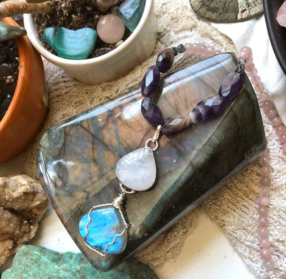 Image of Etched Rainbow Moonstone, Rose Quartz, Amethyst, Labradorite + Black Tourmalinated Quartz Necklace