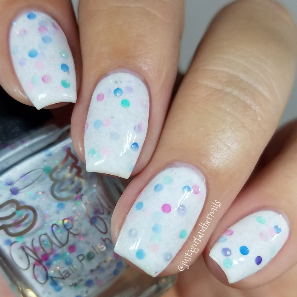 Image of Dame Washalot – an off white crelly with teeny silver holo glitter and circle glitter