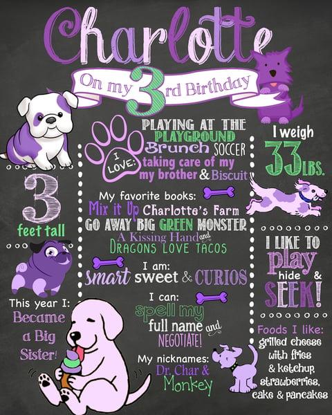 Image of Purple Puppies Birthday Chalkboard