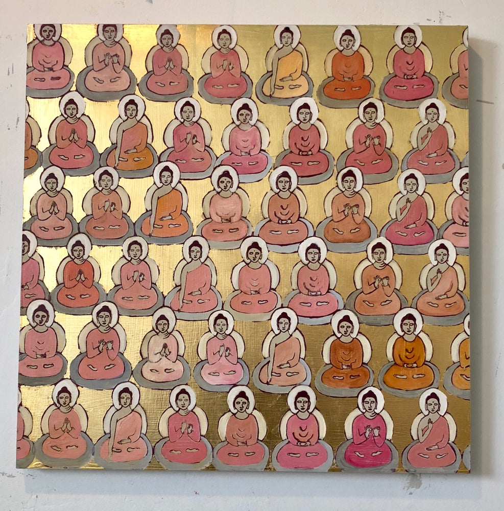 Image of Pale pink and peach and gold Buddhas 20x20""